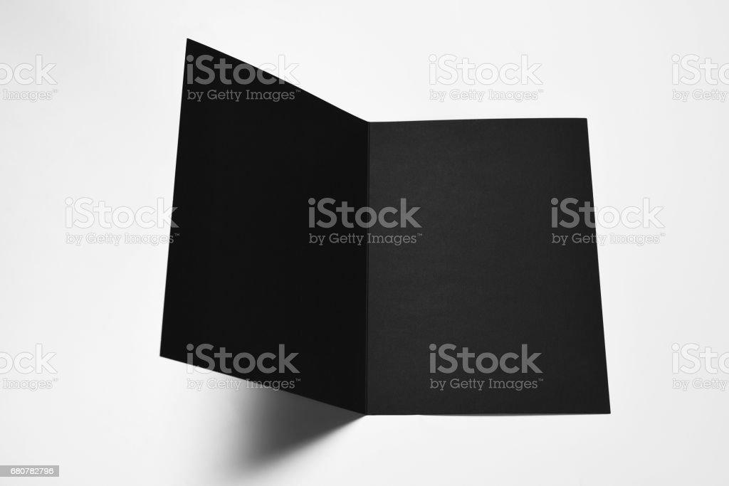 Open blank black card stock photo