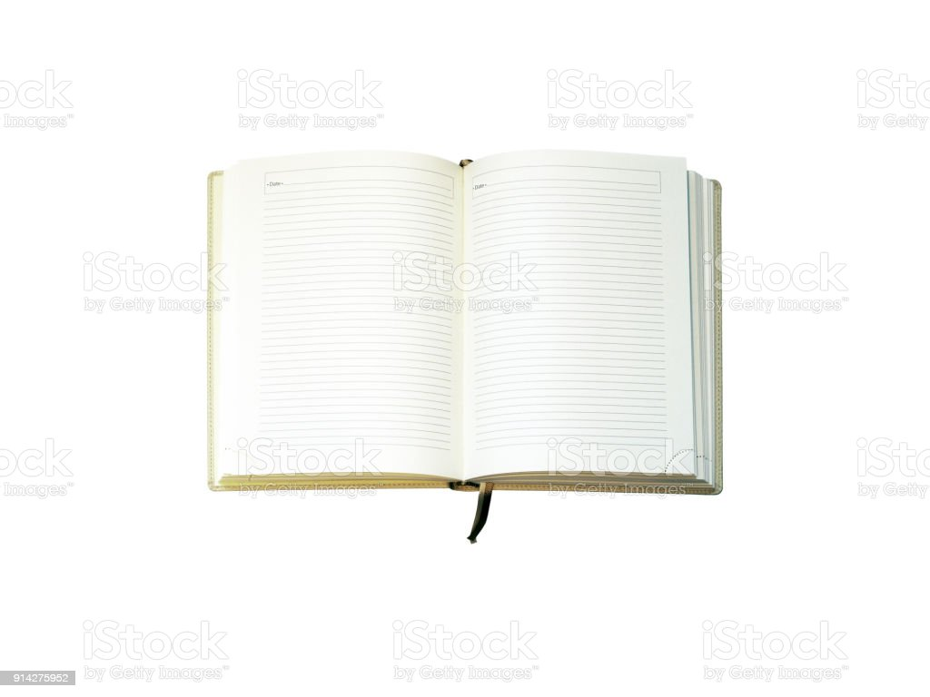 Open blank diary isolated on white background. Note book, lined calendar. Bookmark. Top view stock photo