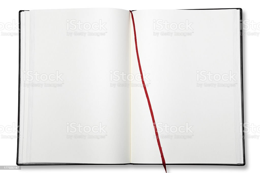 Open blank exercise book. stock photo