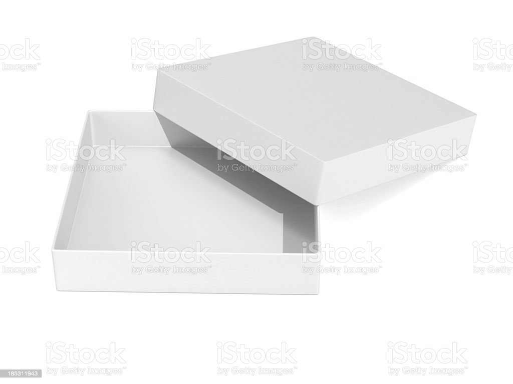 Open blank gift box stock photo