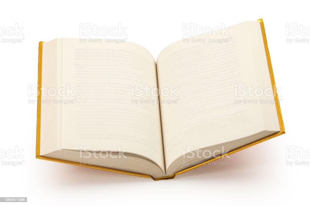 Öffnen Sie leere gold Buch-Cilipping-Pfad – Foto