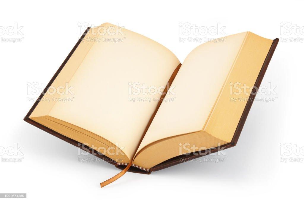 Öffnen Sie leere Hardcover-Buch - Clipping-Pfad – Foto