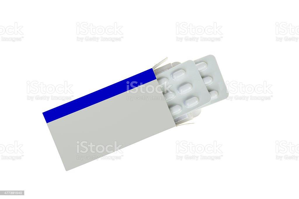 Abierto blanco con medicina Paquete de blíster de pastillas paquete - foto de stock