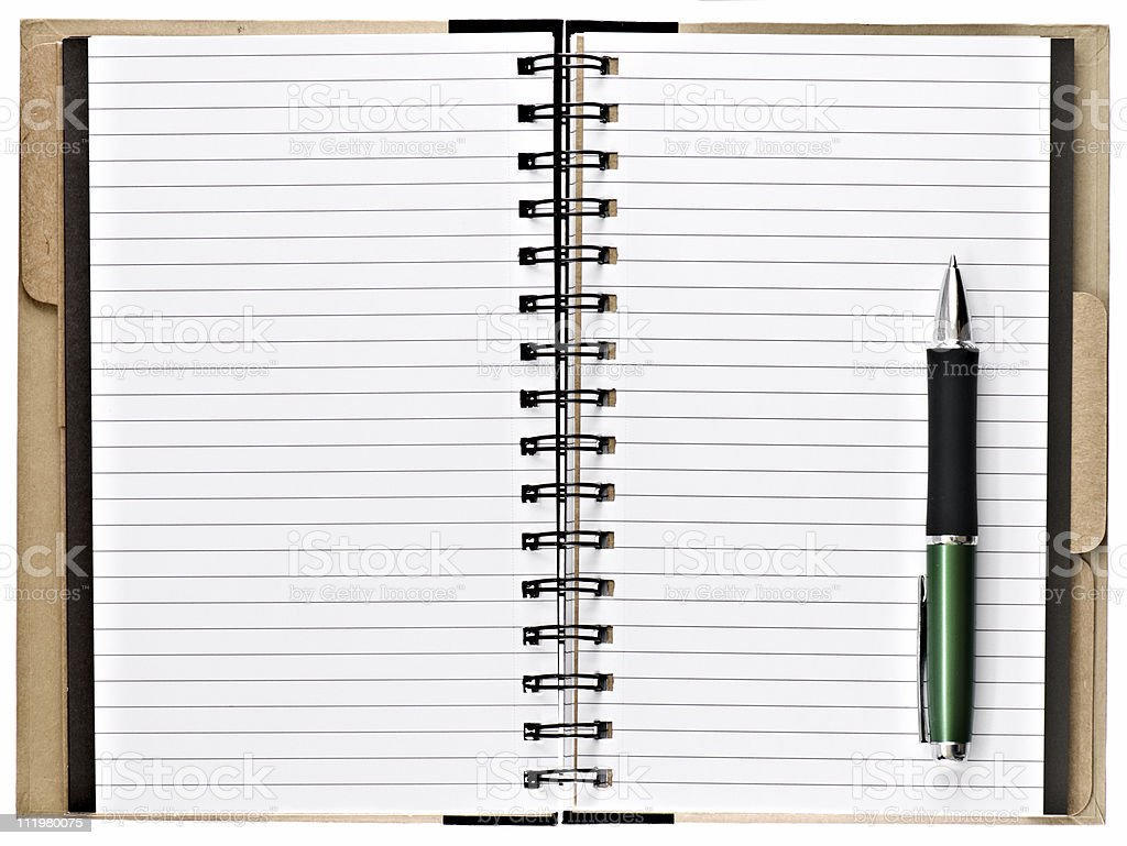 Open Blank Notebook Isolated on White royalty-free stock photo