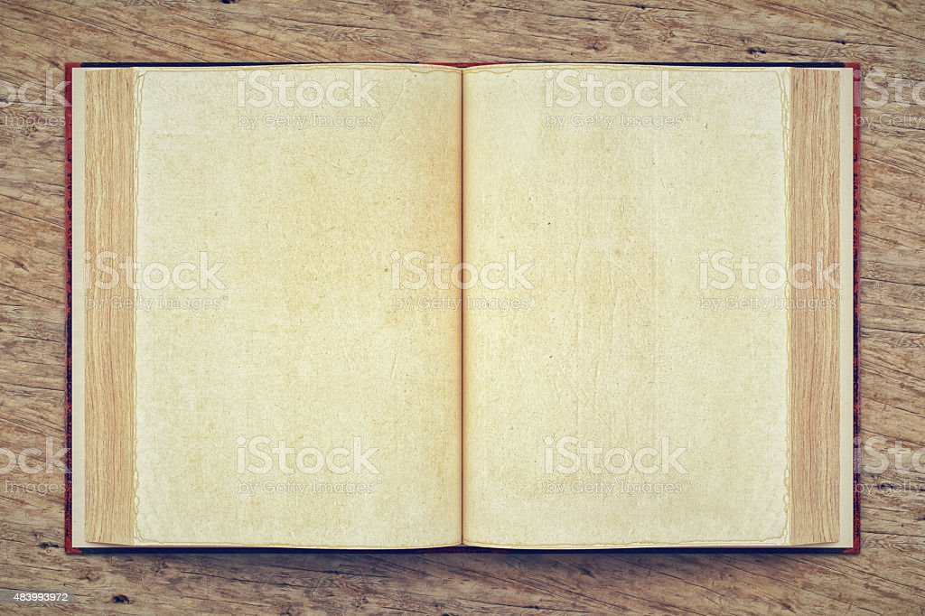 Open Blank Old Book stock photo