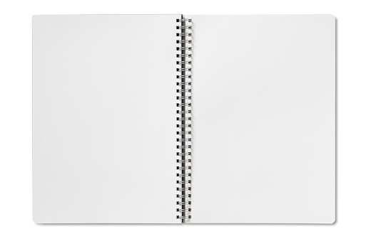Open Blank Spiral Notebook On A White Background Stock ...