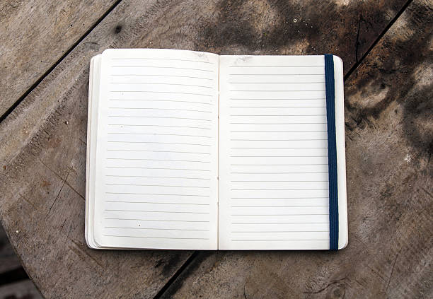 Open blank textbook stock photo