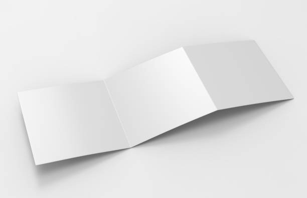 Open Blank white empty square tri fold catalogs brochure flyer, with clipping path, changeable background for mock up and template design. stock photo