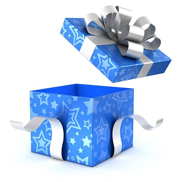 Offene blue und silver-Geschenk-box mit clipping path – Foto
