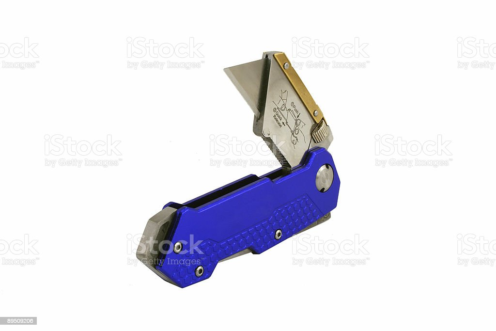 Open Blue anodized contractors razor knife royalty-free stock photo