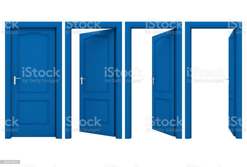 Open blue door stock photo