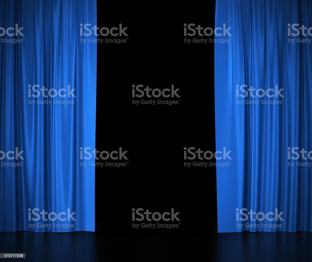 Open blue silk curtains for theater and cinema. stock photo