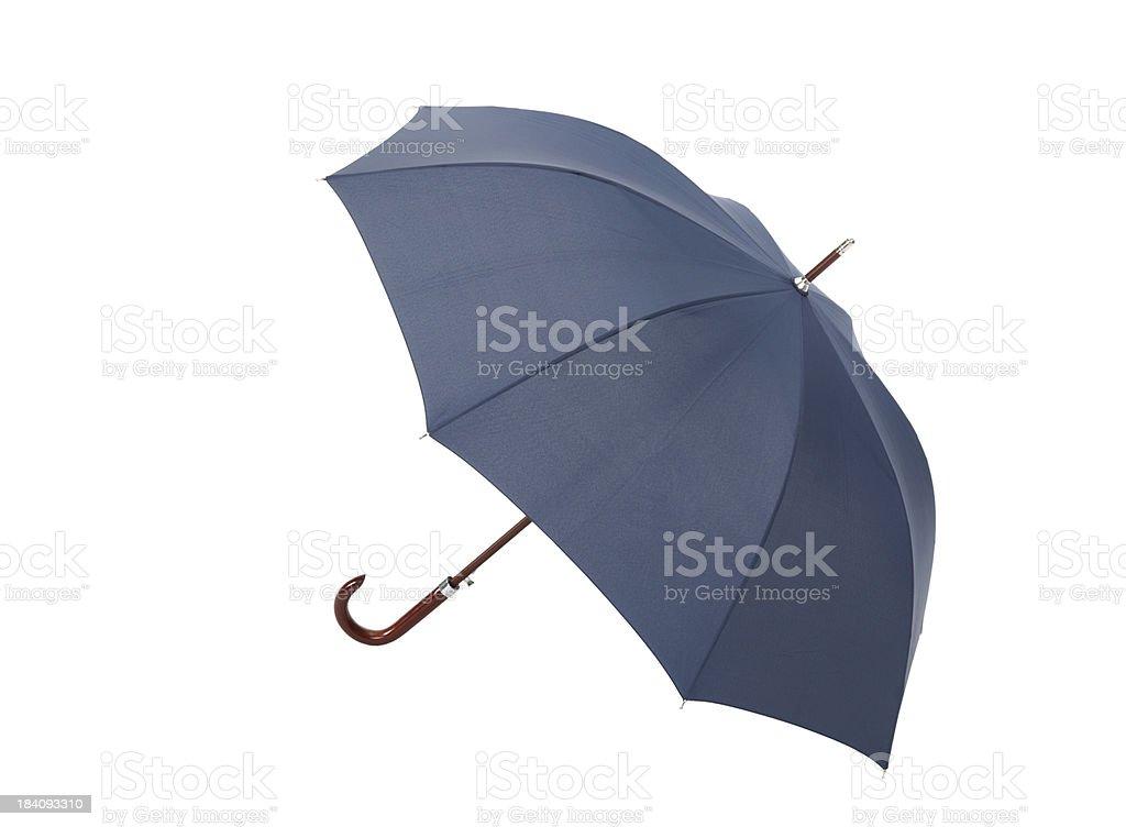 Open blue umbrella on white background studio shot stock photo