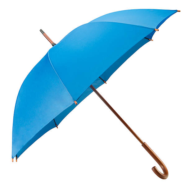 Open blue umbrella(+clipping path) stock photo
