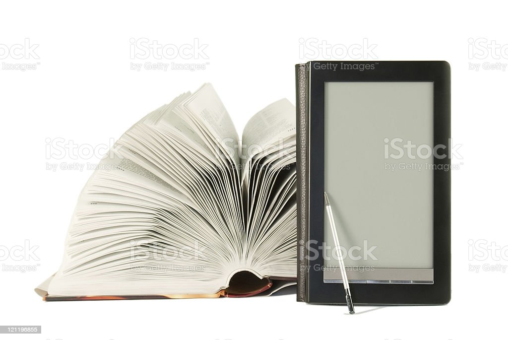 Open book and e-book reader royalty-free stock photo