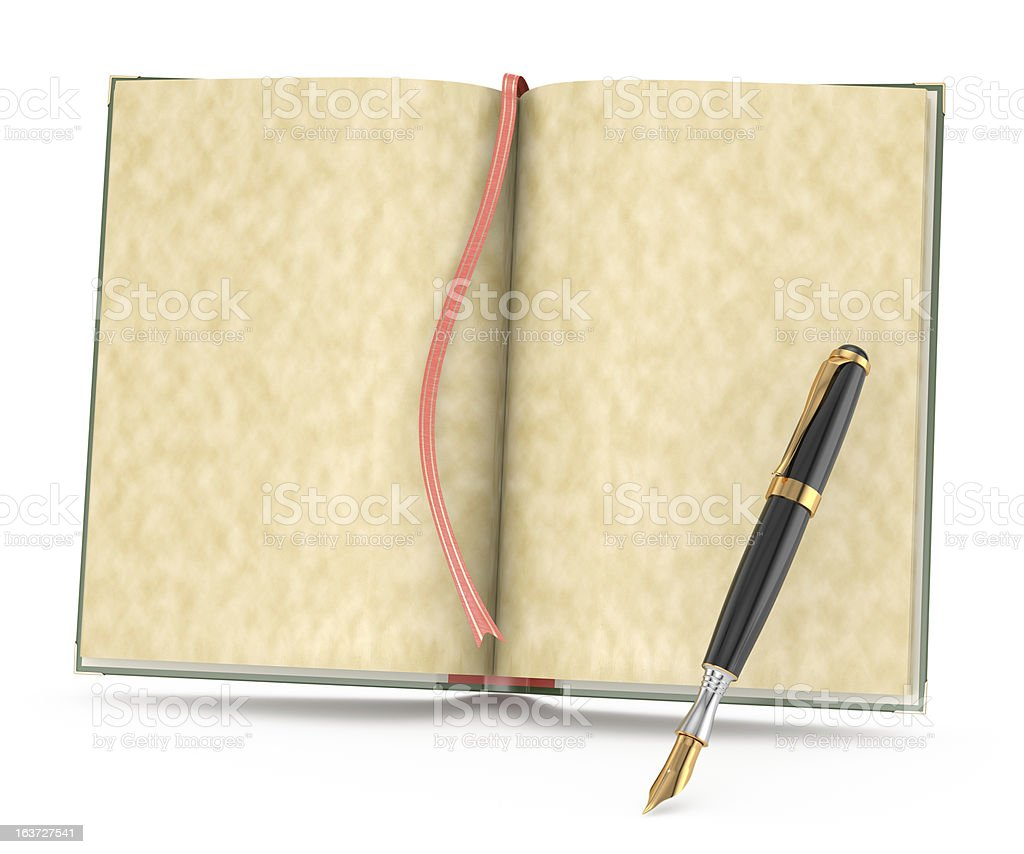 open book and ink pen royalty-free stock photo