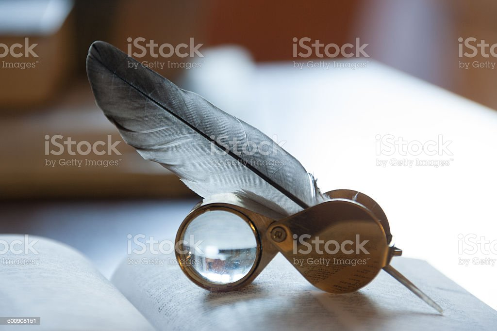 open book and quill pen royalty-free stock photo