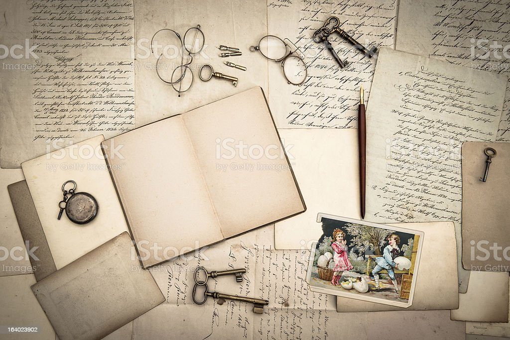open book, antique accessories and vintage easter card royalty-free stock photo