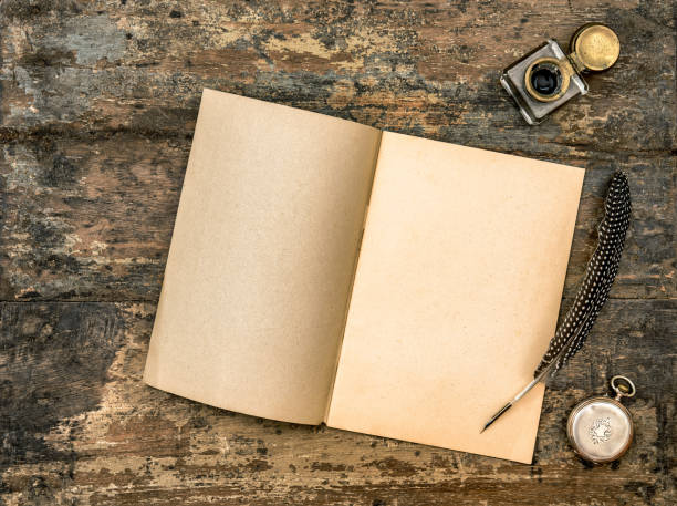 open book antique office supplies wooden background vintage - ink well stock photos and pictures