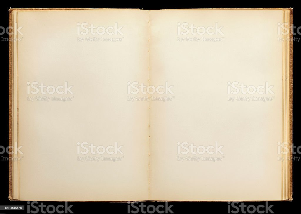 Open Book, Blank Pages. Black Background. royalty-free stock photo