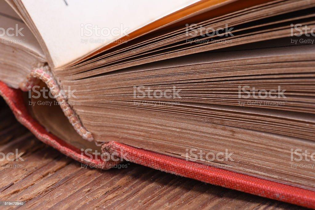 Open book closeup stock photo