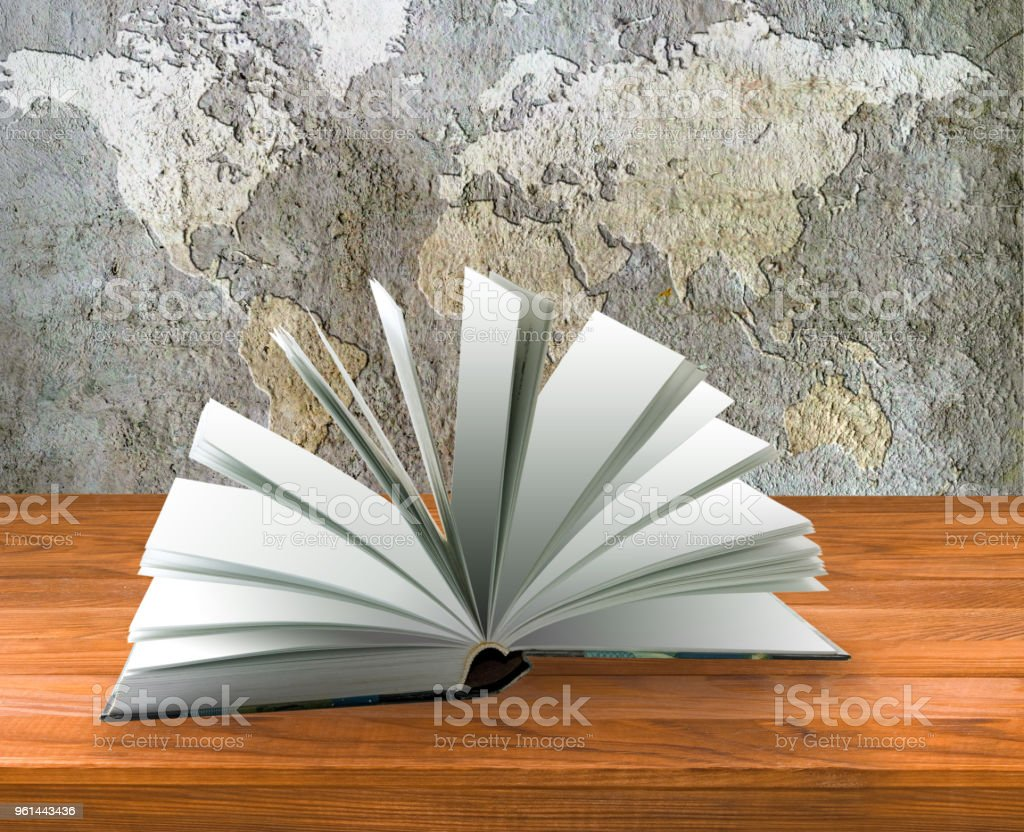 Open book close-up stock photo