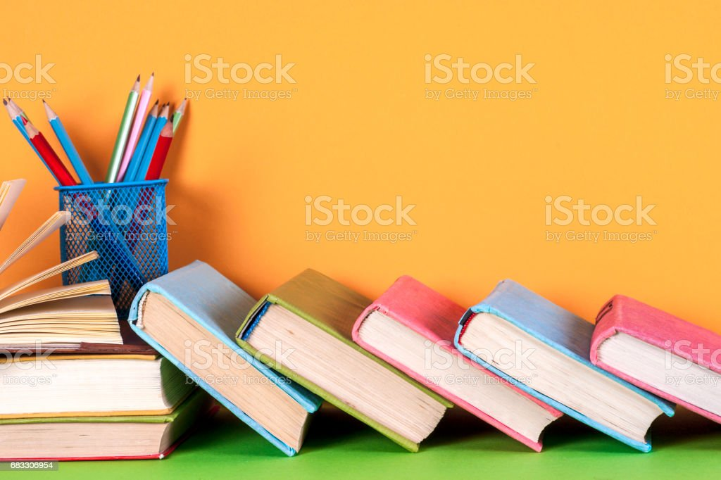 Open book, hardback books on bright colorful background. foto stock royalty-free