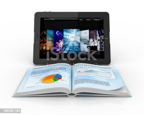 istock Open book in front of digital tablet 185282195