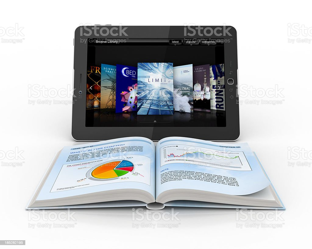 Open book in front of digital tablet stock photo