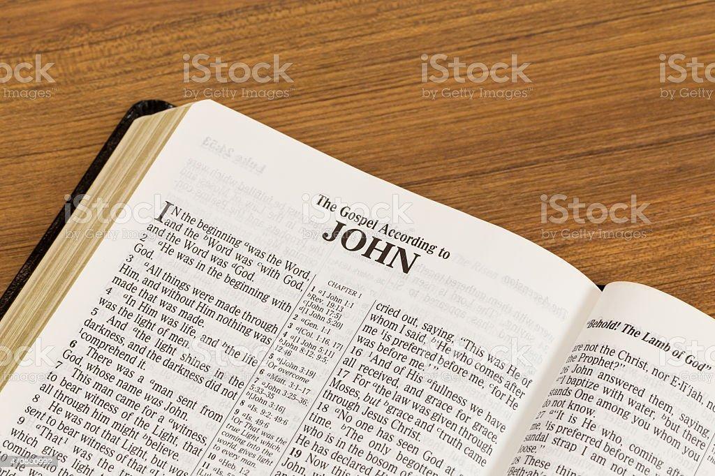 Open Book of The Gospel according to John stock photo