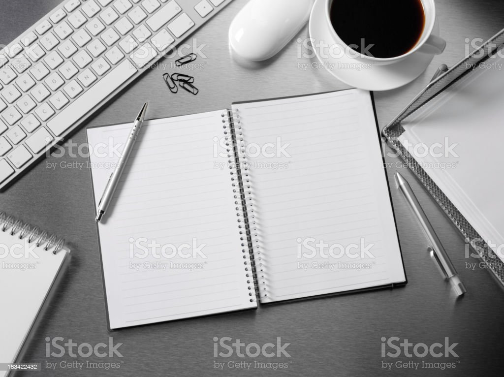 Open Book on a Office Desk royalty-free stock photo