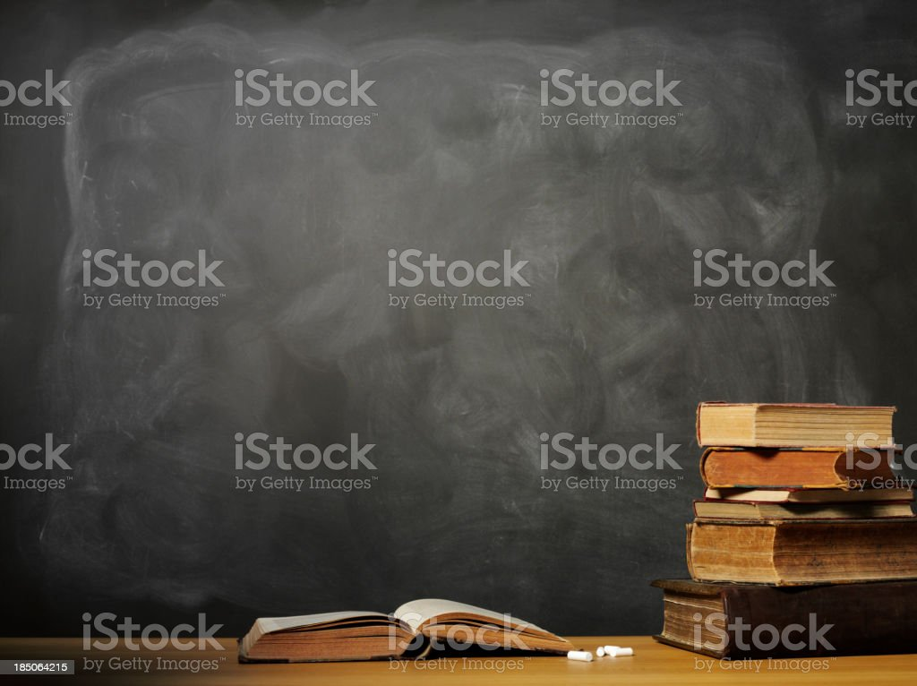 Open Book on a School Desk royalty-free stock photo