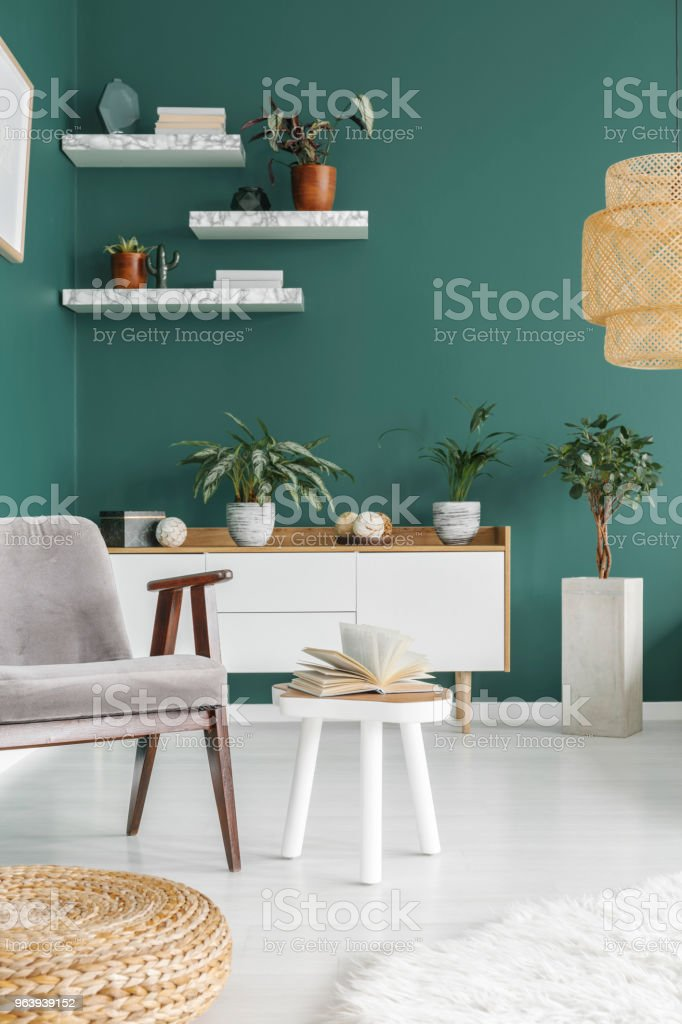 Open book on end table - Royalty-free Apartment Stock Photo