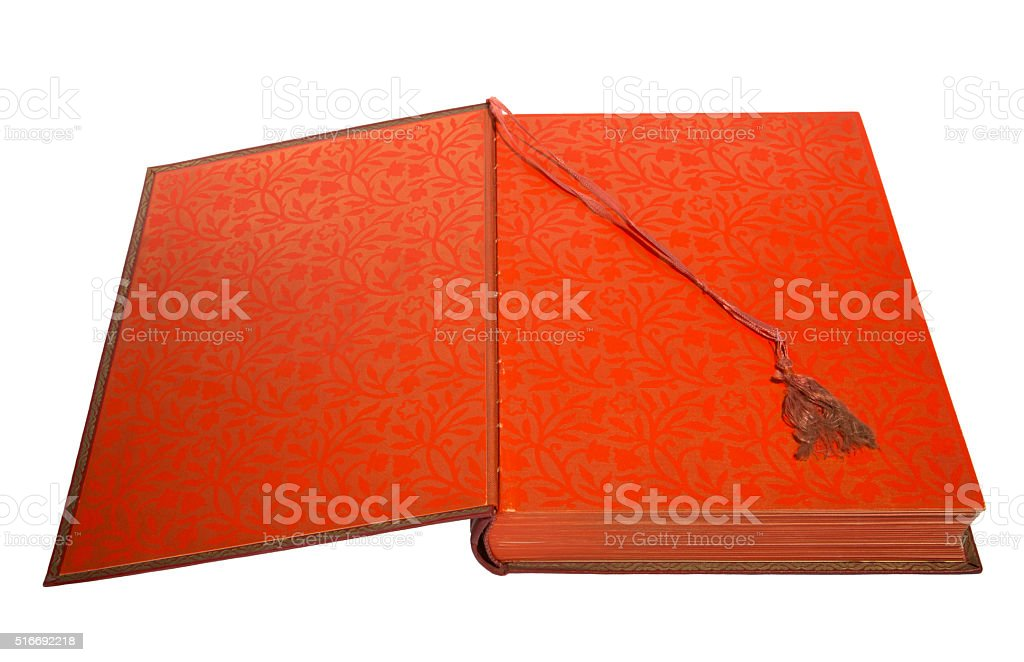 Open book on white background stock photo