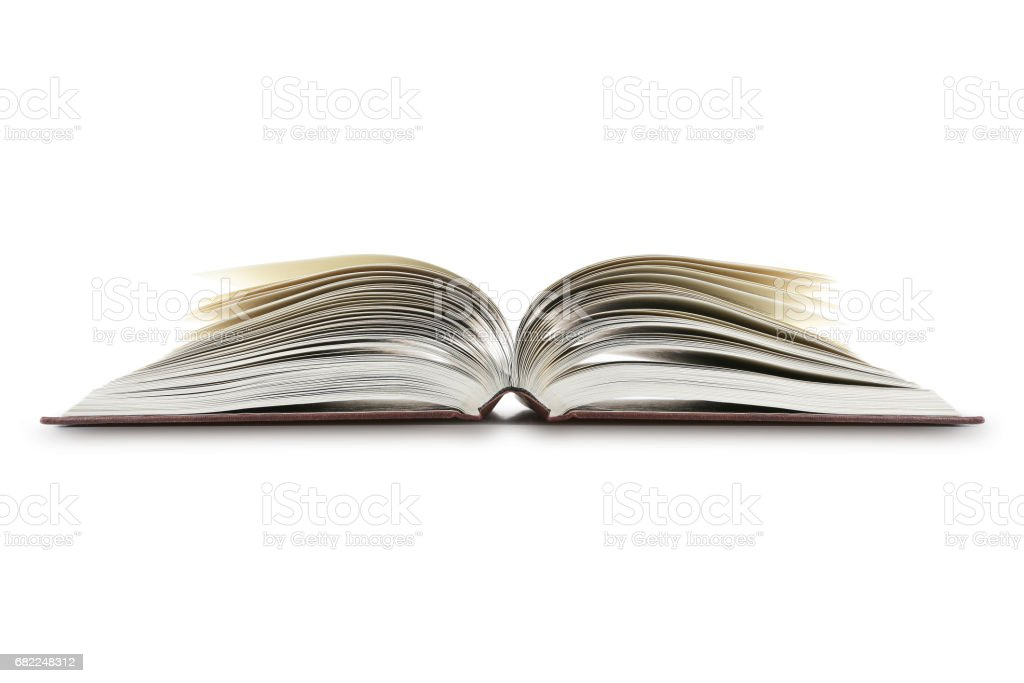 Open Book On White - foto de acervo