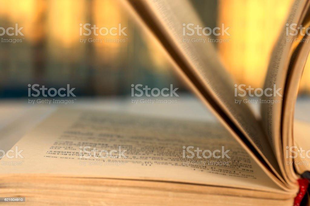 Offenes Buch auf hölzernen Planken über abstrakt hellen Hintergrund Lizenzfreies stock-foto