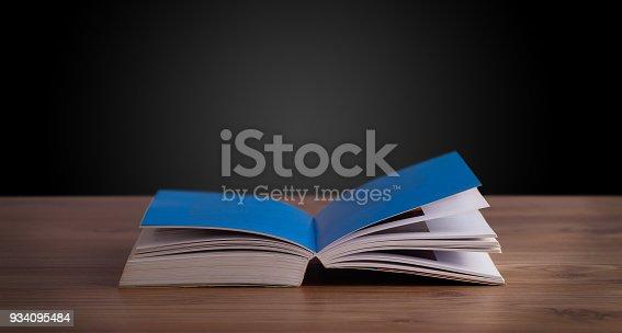 istock Open book on wooden deck 934095484