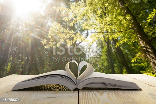 istock Open book on wooden table on natural blurred background. 484758074
