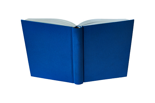 opened book with blue hard cover isolated on white background
