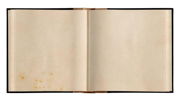 open book used paper pages isolated white background - strona zdjęcia i obrazy z banku zdjęć