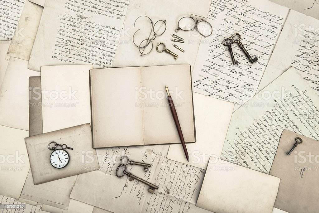 open book, vintage accessories, old letters and postcards stock photo