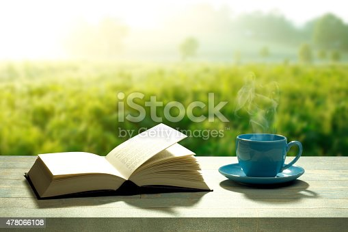 istock open book with a coffee cup and a wooden table 478066108