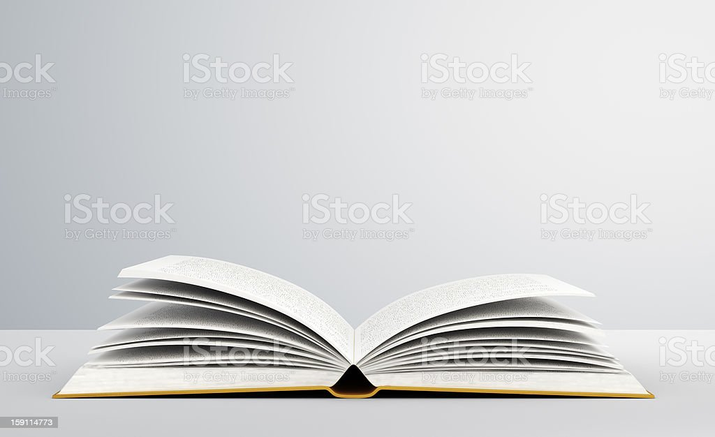 Open book with blank pages against wall background stock photo
