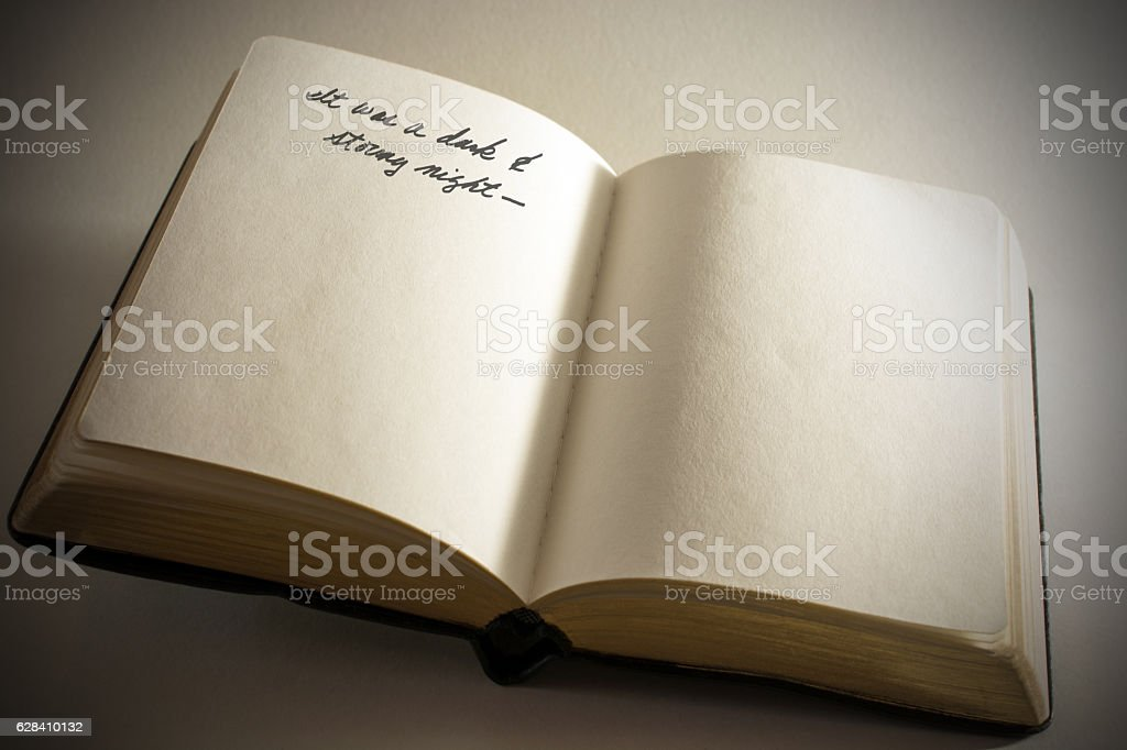Open book with blank pages beginning sentence for writer stock photo