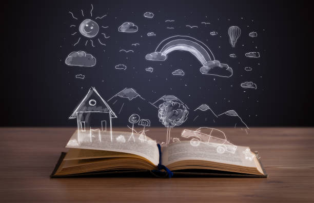 open book with hand drawn landscape - fairy tale stock pictures, royalty-free photos & images