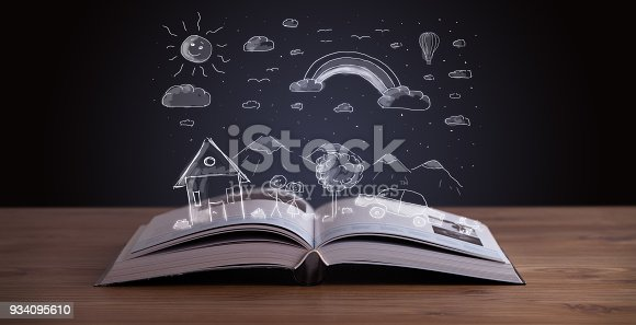 istock Open book with hand drawn landscape 934095610