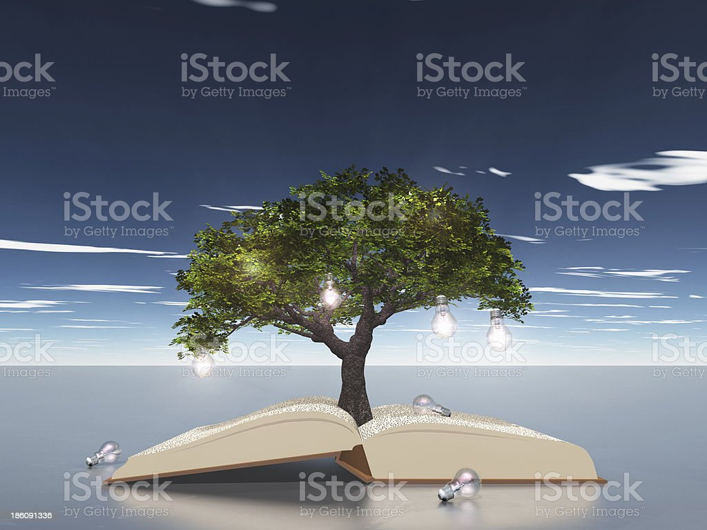 Open book with light bulb tree royalty-free stock photo