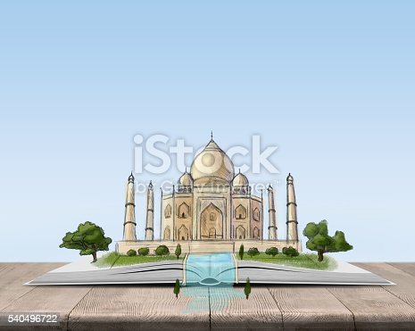 istock Open book with sketch of the Taj Mahal 540496722