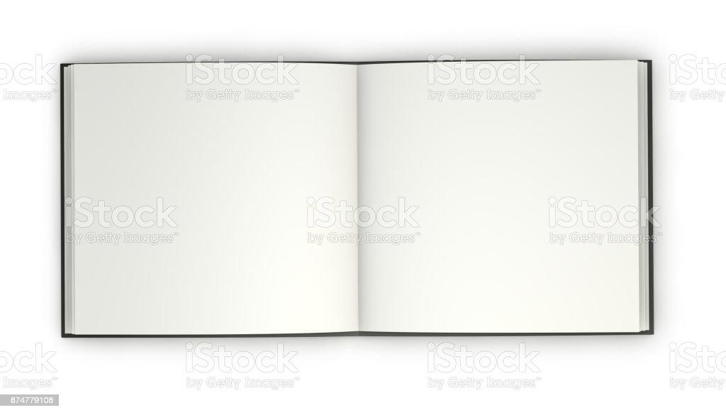 Folleto abierto con ilustración de maqueta páginas cuadrado tapa dura y en blanco oscuro. - foto de stock