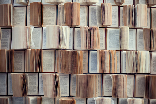 Open books, Abstract blur and defocused bookshelf in library interior for background
